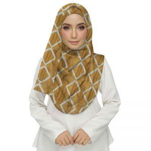Premium Cotton Yellow Designer Zic Zac Grid Hijab
