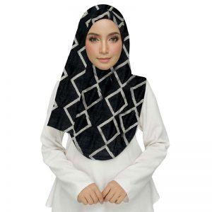 Premium Cotton Black Designer Zic Zac Grid Hijab