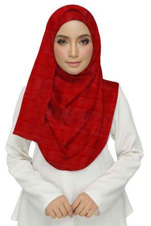 Premium Cotton Red Designer Diamond Studed Crush Stole