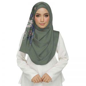 Green Diamond Studed Designer Embroidered Flower Hijab
