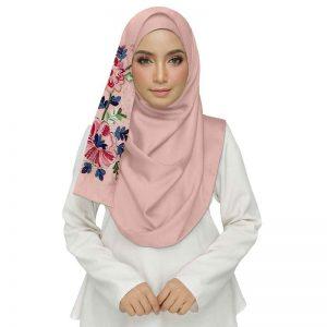 Pink Diamond Studed Designer Embroidered Flower Hijab
