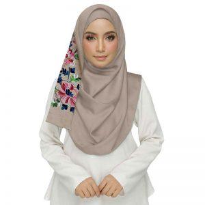 Brown Diamond Studed Designer Embroidered Flower Hijab