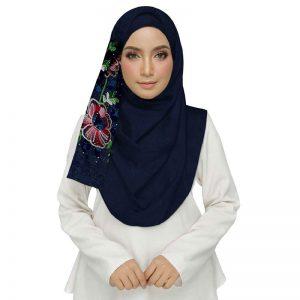 Blue Diamond Studed Designer Embroidered Flower Hijab