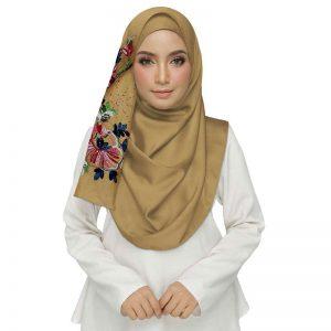 Yellow Diamond Studed Designer Embroidered Flower Hijab