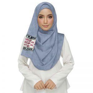 Blue Double Sided Diamond Studed Tissue Hijab