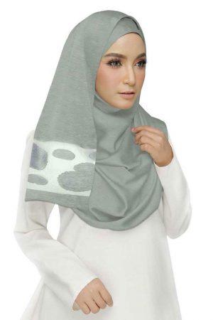 Grey Double Sided Diamond Studed Tissue Hijab