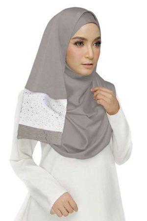 Purple Double Sided Diamond Studed Tissue Hijab