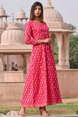 Mastani Pink Block Printed Hand Block Gold Printed Rajputi Style Gown