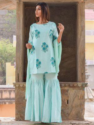 Amira Turquoise Block Printed Hand Block Printed Sharara Kurta