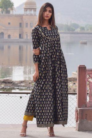 Mastani Black Block Printed Hand Block Gold Printed Rajputi Style Gown
