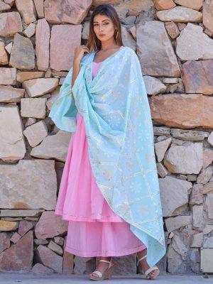 Pink Ethnic Gher Pleated Kurta Plazzo And Dupatta
