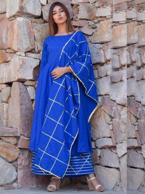 Blue Ethnic Mukaish Work Kurta Plazzo And Dupatta