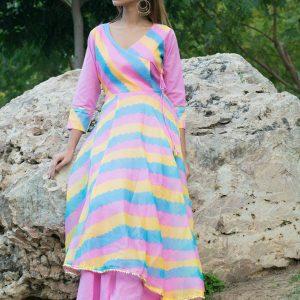 Holika Lehriya Angrakha Style Pattern Kurta Sets