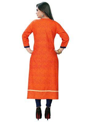 Dark Blue & Orange Rayon Printed & Embroidered Kurti