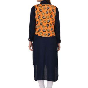 Black & Orange Reyon Print Kurti