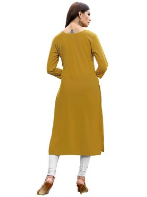 Mustered Yellow Reyon Plain Kurti