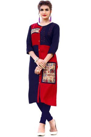 Red & Blue Reyon Print & Handwork Kurti
