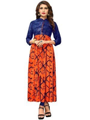 Orange Reyon Hand Printed Kurti