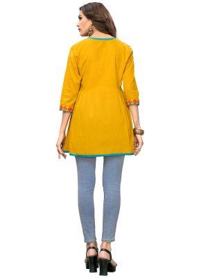 Musterd Yellow Cotton Embroidered Kurti