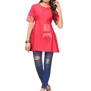 Pink Cotton Embroidered Kurti