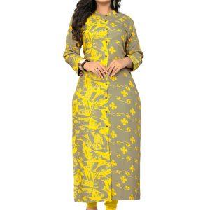 Grey & Yellow Rayon Printed Kurti