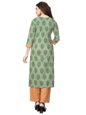 Light Green Cotton Printed Kurti