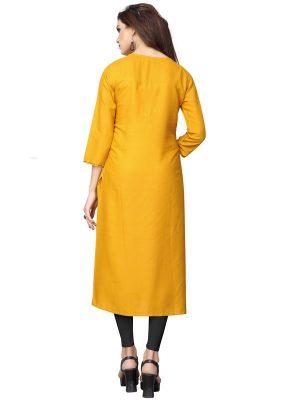 Yellow Rayon Plain Kurti