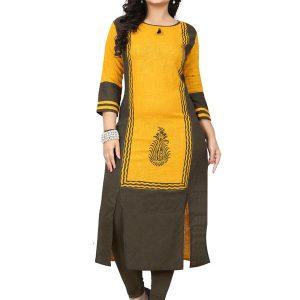Yellow Slab Cotton Printed Kurti