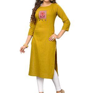Yellow Slab Cotton Embroidered Kurti