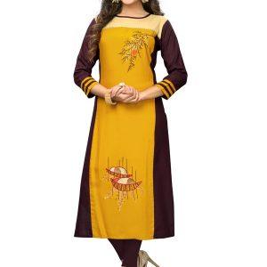 Yellow Rayon Embroidered Kurti