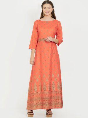 Orange Rayon Printed Kurti