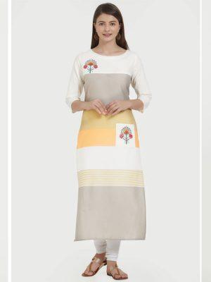 Multi Color Cotton Printed & Embroidered Kurti