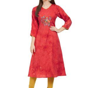 Red Rayon Printed & Embroidered Kurti