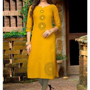 Yellow Slub Cotton Printed Kurti