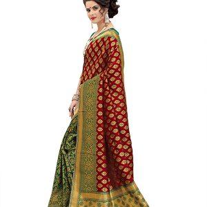 Star Green & Red Banarasi Silk Saree