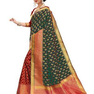 Jall Mango Red & Rama Banarasi Silk Saree