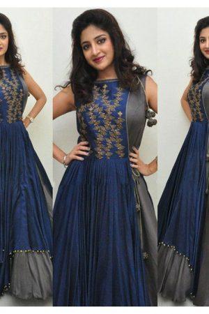 Taffeta Silk Embroidery Work Semi Stitched Indo Western Gown ( Blue Grey )
