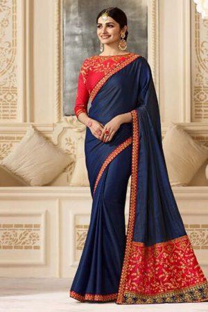 Prachi Desai Navy Blue & Red Sparkle Silk Embroidered Saree