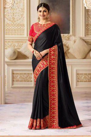 Prachi Desai Black & Red Sparkle Silk Embroidered Saree