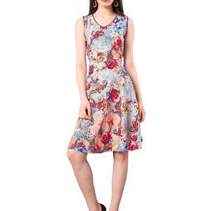 Multicolored Crepe Digital Printed Dress