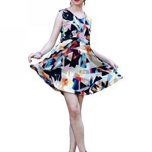 Multicolor Printed Western Dress