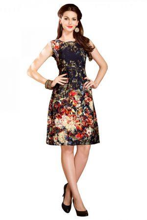 Black Floral Digital Printed Dress