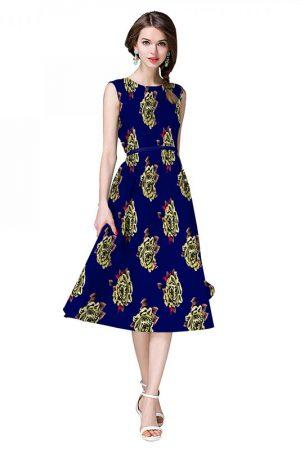 Dark Blue Japan Satin Printed Dress