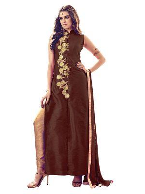 Brown Color Semistitched Salwar Suite In Banglori Silk Fabric