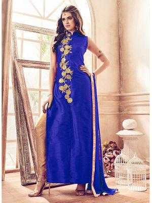 Blue Color Semistitched Salwar Suite In Banglori Silk Fabric