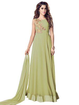 Olive Green Color Semistitched Anarkali Suite In Georgette Fabric