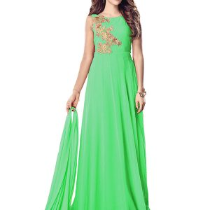 Parrot Green Color Semistitched Anarkali Suite In Georgette Fabric