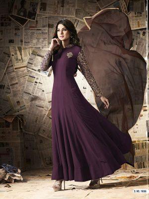 Purple Color Semistitched Anarkali Suite In Georgette Fabric