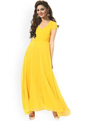 Trendy Yellow Color Fabric Crepe Kurti