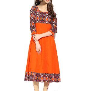 Casual Orange Color Fabric Crepe Kurti